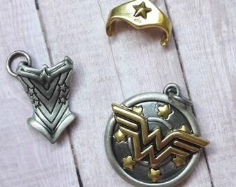 Wonder Woman Pendant & Charm Trio DIY Jewelry Making Supplies