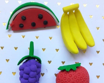Assorted Fruit Eraser Pack 4pc Back To School/Stationery Supplies