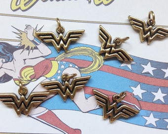 Gold Wonder Woman Logo Charm Pendant Jewelry Making & DIY Jewelry Supplies