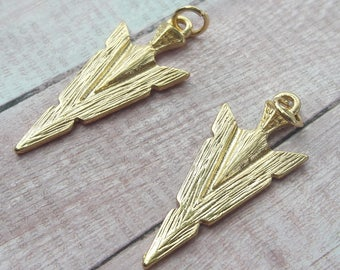Gold Arrowhead Pendant/Charms Native American Jewelry Making Supplies