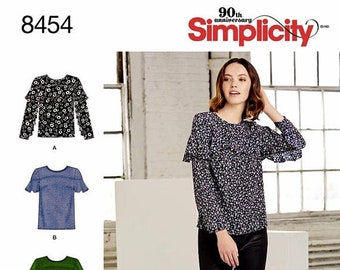 Simplicity Blouse Pattern, Pullover Top Pattern, Long Sleeve Blouse Pattern, Simplicity Sewing Pattern 8454