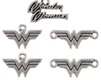 Silver Wonder Woman Charms & Pendants Jewelry Making Supplies