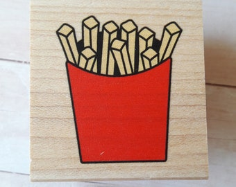 French Fries Wood Mounted Rubber Stamp Scrapbooking & Paper Craft Supplies