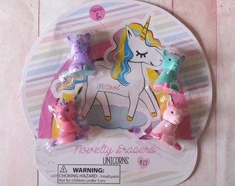 Novelty Unicorn Erasers 4ct Stationery & School Supplies