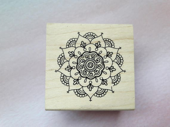 Mandala Henna Flower Wood Mounted Rubber Stamp Paper Craft Etsy