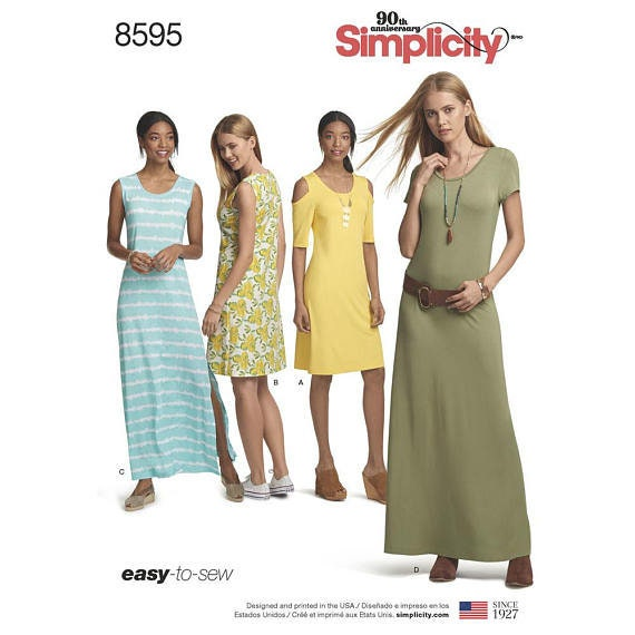 4e0a119f473 Simplicity Sewing Pattern 8595 Misses  Knit Dresses
