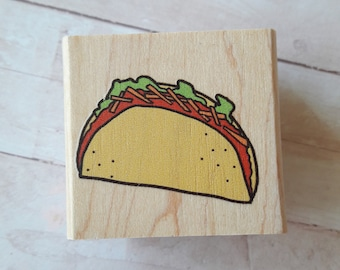 Taco Wood Mounted Rubber Stamp Scrapbooking & Paper Craft Supplies