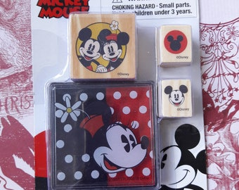 Mickey & Minnie Mouse Rubber Stamp Set With Ink Pad Scrapbooking And Paper Craft Supplies