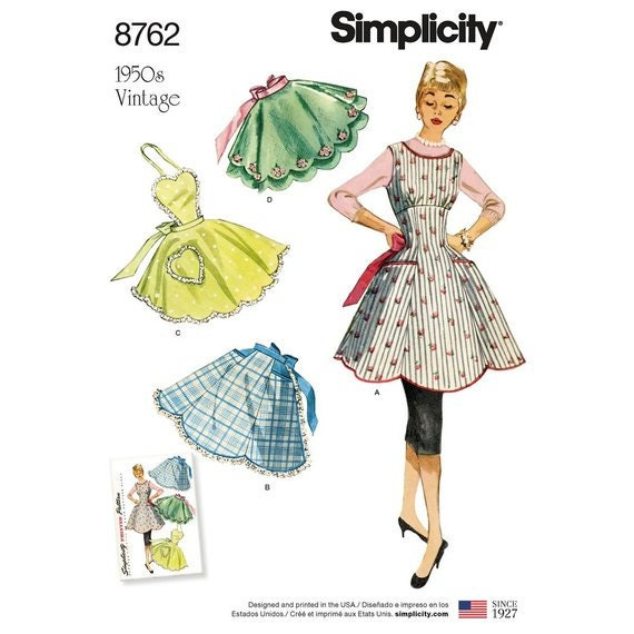 Simplicity Sewing Pattern 8762 Missesu0027 Vintage Aprons | Etsy