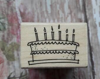 Make A Wish Birthday Cake Wood Mounted Rubber Stamp Scrapbooking & Paper Craft Supplies