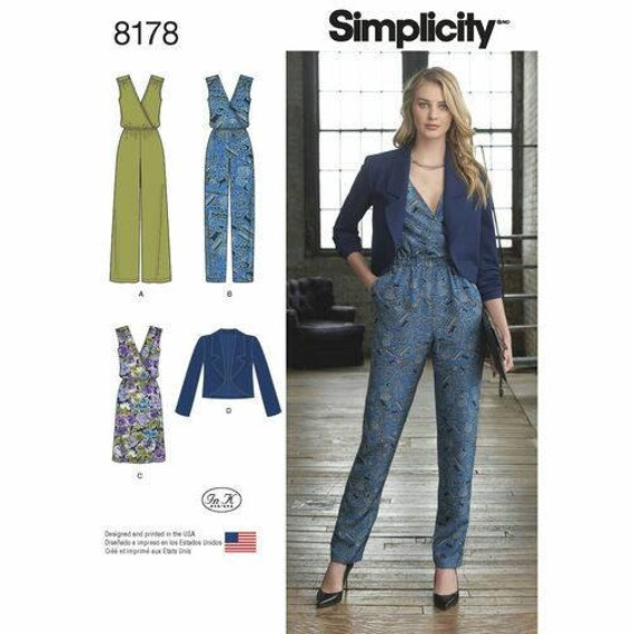 Simplicity 8178 Misses Jumpsuit Dress And Jacket Sewing Etsy