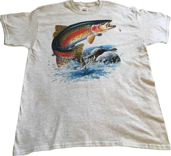 Truite arc-en-ciel T Shirt, sautant truite poisson, pêche de chemise, couette bloc de tissu, fourre-tout, tablier, (Sweat, Sweat à capuche disponible sur demande) 249e