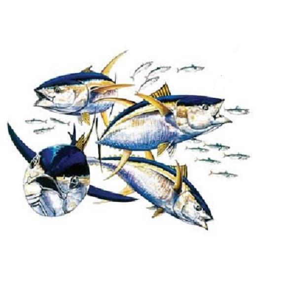 Yellowfin Tuna T Shirt Fish Fishing Quilt Fabric Block Etsy