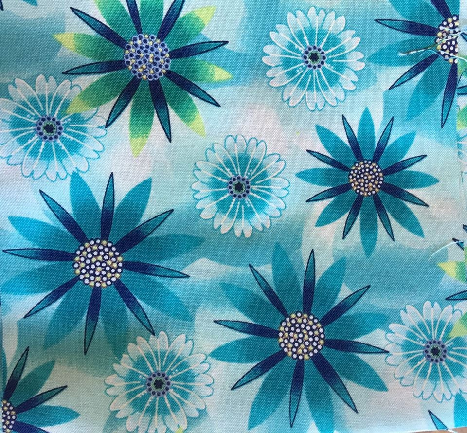 Pretty Turquoise Blue Flowers Fabric Five 6 Cotton Etsy