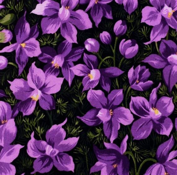 Pretty purple flowers fabric five 6 cotton fabric etsy image 0 mightylinksfo