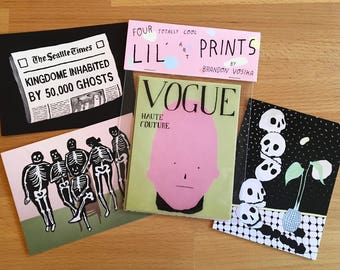 """Four Totally Cool lil Art Prints Pack 4""""x5"""""""