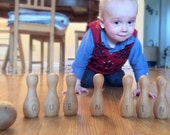 Personalized Wood Bowling Pin Set - Essential Montessori