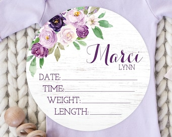 Purple Floral Birth Stats Round Wood Baby Name Sign Wooden Personalized Baby Name Newborn Announcement Hello World Fresh 48