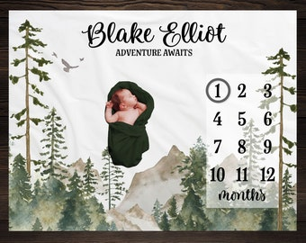 Mountains Milestone Blanket, Monthly Growth Tracker, Personalized Baby Blanket, Custom Blanket, Baby Shower Gift, New Baby Gift, Baby Boy