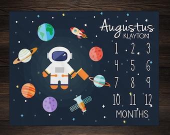 Baby Milestone Blanket Month Blanket Baby Growth Tracker Fleece Blanket Baby Shower Outerspace Baby Newborn Gift Minky  Boy Space Nursery