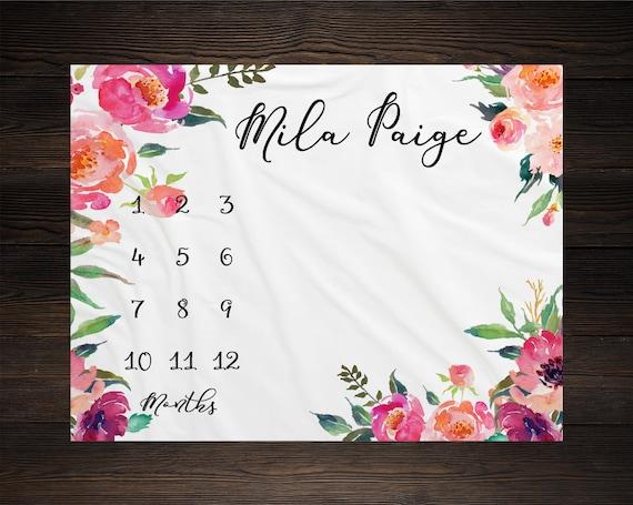 Girl Milestone Blanket Month Growth Tracker Minky Fleece Blanket Custom Personalized Watercolor Floral Newborn