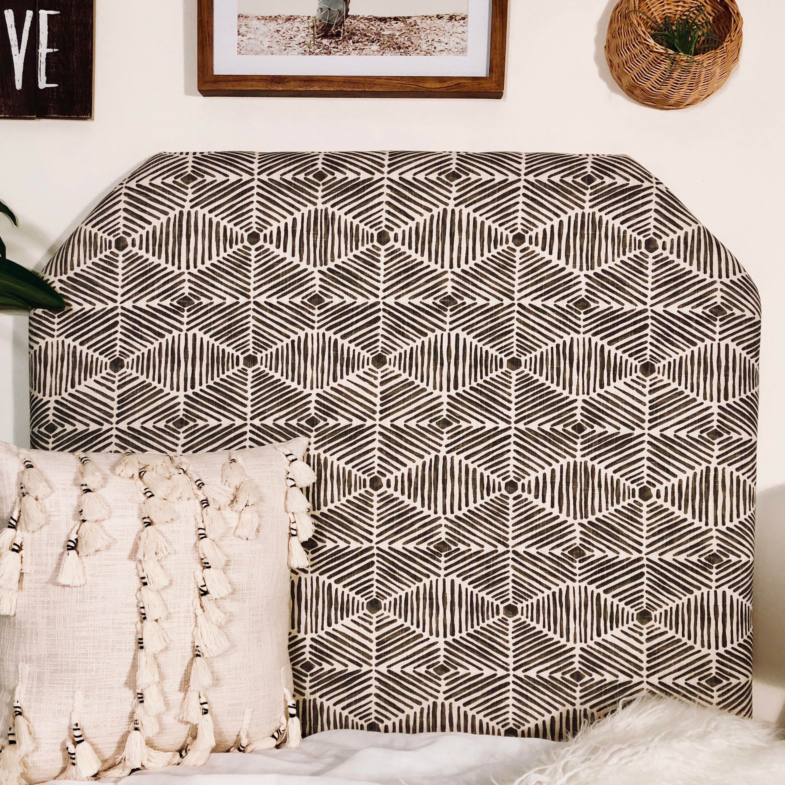 Dorm Room Twin Headboard   Grey Vintage Bohemian Pattern Upholstered  Headboard   Beveled or Arched Shape with Bed Attachment