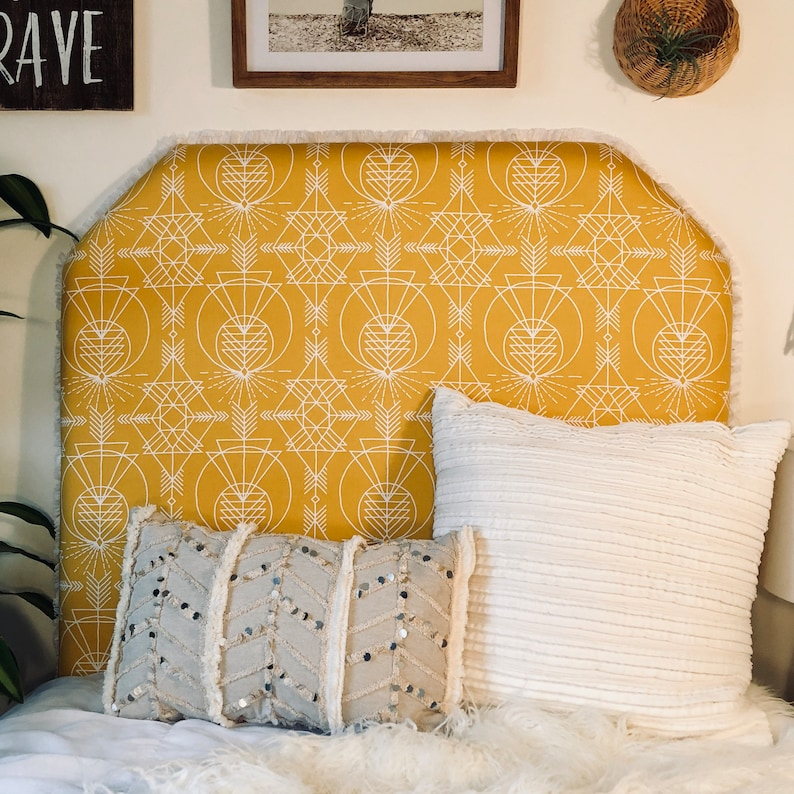 buy popular 2c2a1 9c4da Dorm Room Twin Headboard - Yellow and White Geometric Wander Print  Headboard - Beveled / Arched Shape with Bed Attachment