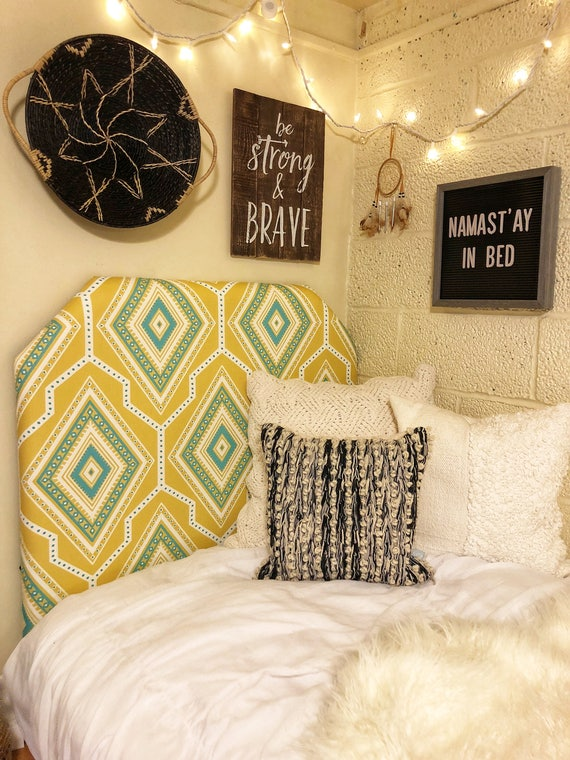 Dorm Room Twin Headboard Yellow Blue And White Geometric Etsy