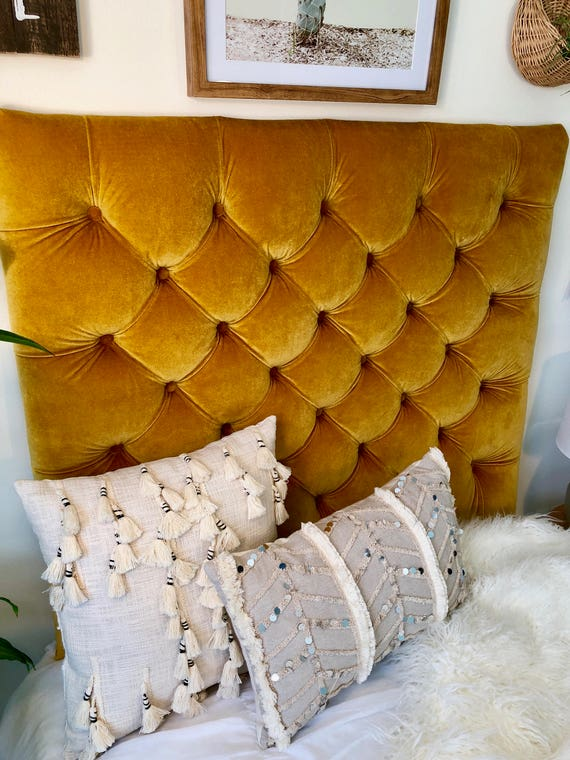 huge discount c3b75 5204f Dorm Room Twin Upholstered Headboard in Gold Velvet Tufted - 2 Styles  Available - Diamond and Square Tufted - Plush Dorm Room Headboard