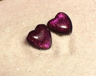 Black Violet Glass earrings, silver jewelry, minimalist