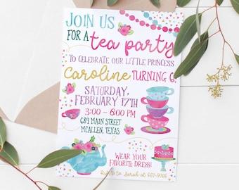 Kids Tea Party Invitation Etsy