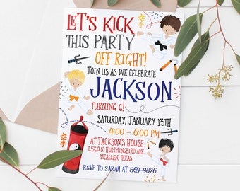 Printable Karate Kids Birthday Invitation