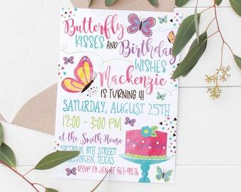 Druckbare Butterfly Kisses Geburtstag Wunsche Einladung