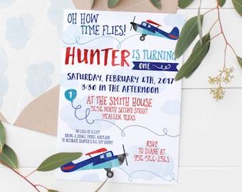 Printable Oh How Time Flies Kids Airplane Birthday Invitation