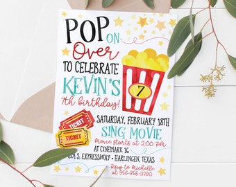 Items similar to popcorn party invitations birthday invitation browse more items from etsy printable movie night kids birthday invitation filmwisefo