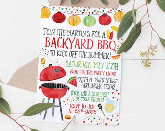 Printable Summer BBQ Party Invitation (Kids or Adults Birthday or Summer Party)
