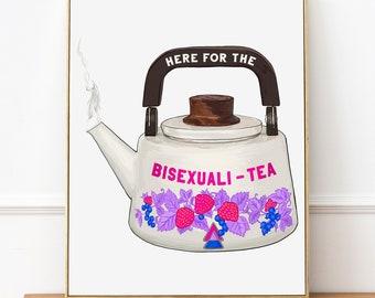 Bi Pride Art: Here For the Bisexualitea, lgbtq pride