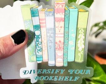 Feminist Sticker: Diversify Your Book Shelf, book stickers