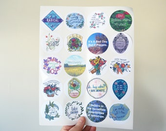Self Care Sticker Set: Laptop Stickers, Self Care Kit, grow through what you go through