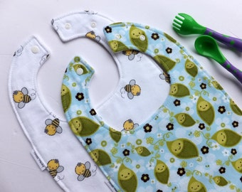 2Pk - Toddler bib - Pea in the Pod - Bumble Bees - Bibs for Babies -  to Toddlers and beyond - Baby Bibs - Toddler Bibs