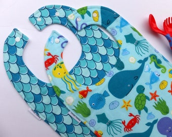 2 Pk - Toddler bibs - Ocean friends - Fish Pattern  - Bibs for Babies -  to Toddlers and beyond - Baby Bibs