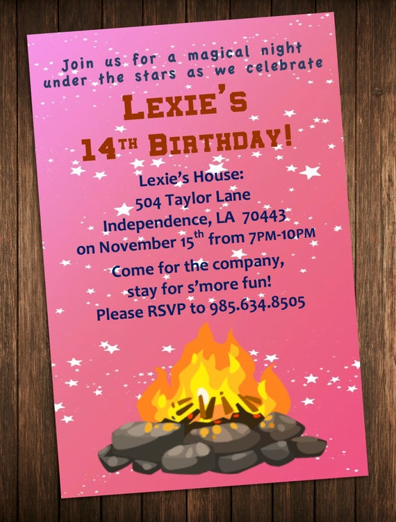 bonfire party invitation outdoor campfire birthday party invite