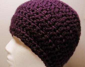 Purple Beanie Purple Beanie Hat Purple Crocheted Beanie Hat Purple Chunky Yarn Beanie Hand Crocheted Hand Made