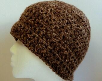 Brown Beanie Brown Beanie Hat Brown Crocheted Beanie Brown Chunky Yarn Beanie