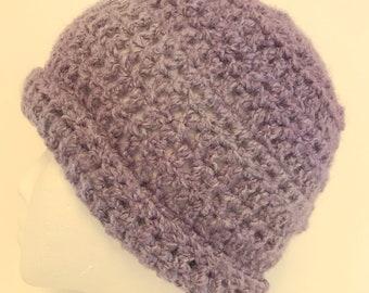 Mauve Beanie Mauve Beanie Hat Mauve Winter Hat Mauve Crocheted Hat Purple Beanie Purple Beanie Hat