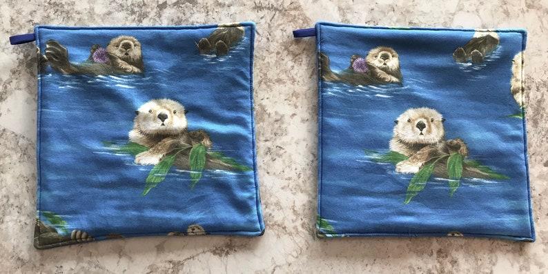 Potholders Set of 2 Potholders Fabric Potholders Otter Gift Otter Present