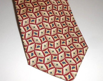 5b53ad7160d2 Paolo Gucci Neck Tie Yellow Tan Gold Geometric 100% Silk Italy Hand Finished