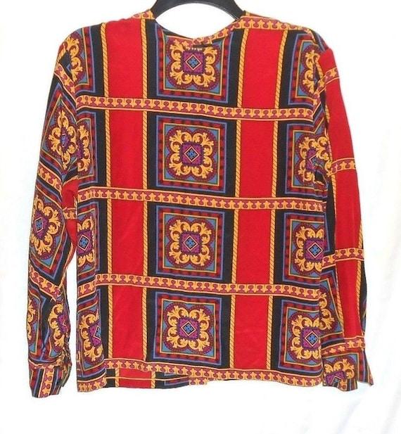 d30843db51ae37 Linda Allard Ellen Tracy Silk Blouse Petite Size 6 Red Black