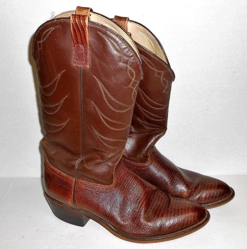2e13842dd39 Men's ACME Size 10D Vintage Cowboy Boots Brown Lizard Embossed Leather  Western