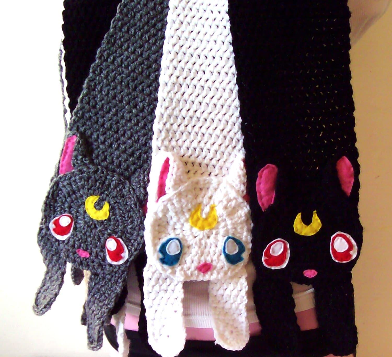 Crochet Sailor Moon Cat Scarf Etsy